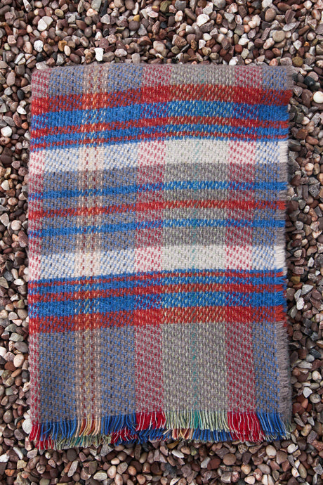 British Recycled Wool Blanket - Blue and Red