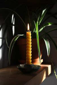 Pair of The End of the Avenue Spiral Beeswax Tapered Candles