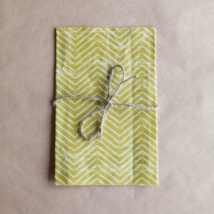 Reusable Cotton Beeswax Wrap - Ochre Zigzag Lines