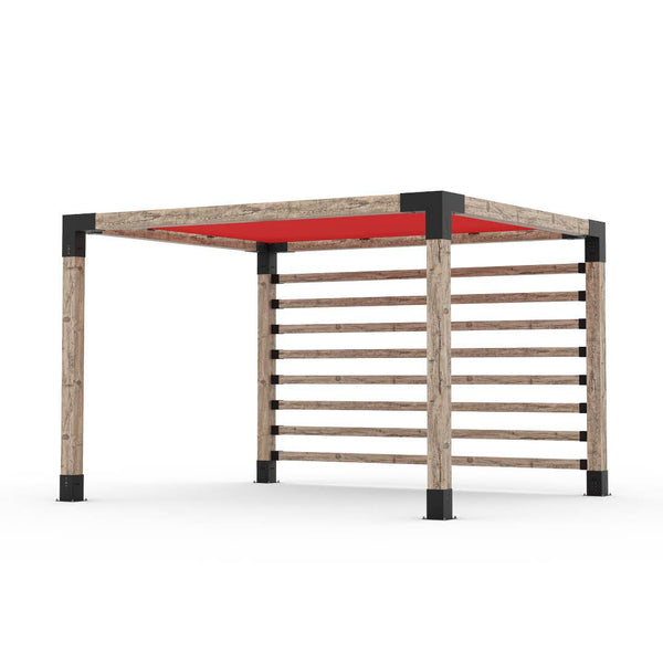 Pergola Kit with Post Wall for 6x6 Wood Posts _10x12_crimson