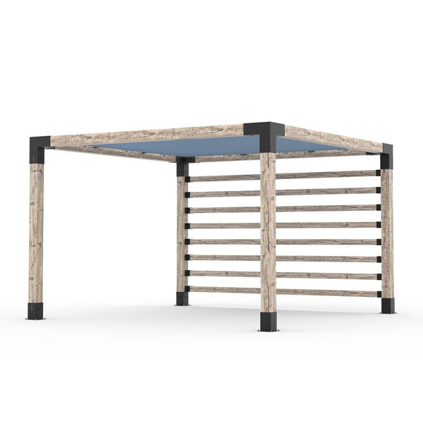 Pergola Kit with Post Wall for 6x6 Wood Posts _12x12_denim