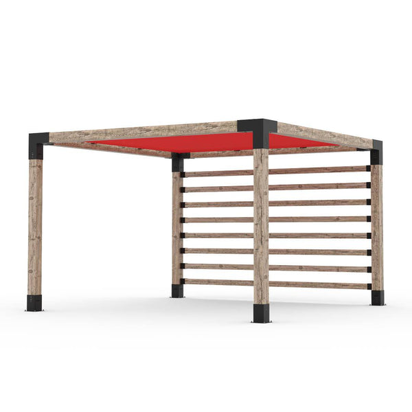 Pergola Kit with Post Wall for 6x6 Wood Posts _12x12_crimson