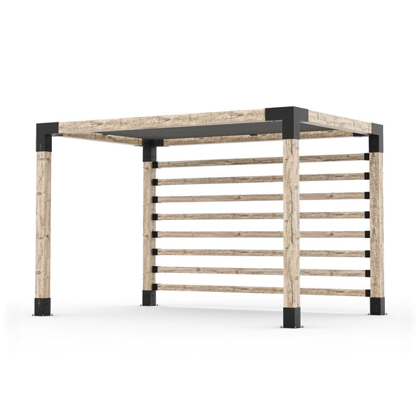 Pergola Kit with Post Wall for 6x6 Wood Posts _8x12_graphite