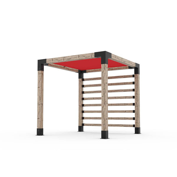 Pergola Kit with Post Wall for 6x6 Wood Posts _8x8_crimson