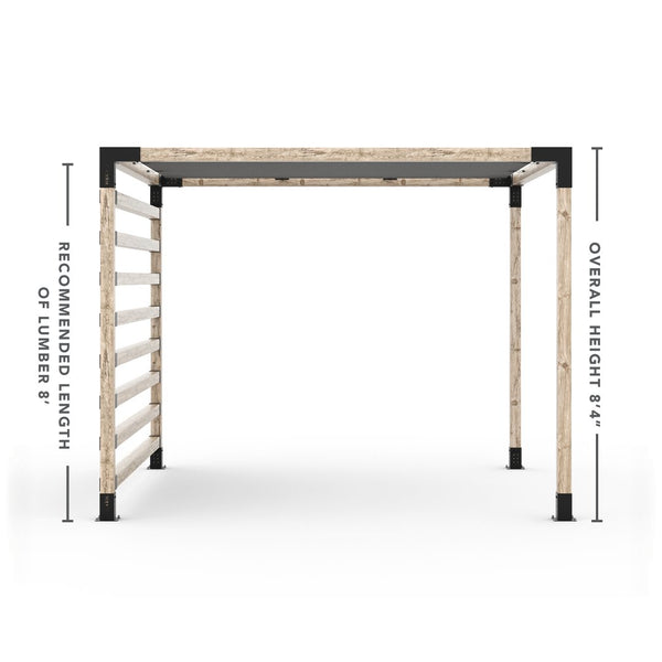Pergola Kit with Post Wall for 4x4 Wood Posts _10x10_graphite _10x10_crimson _10x10_denim _10x10_white