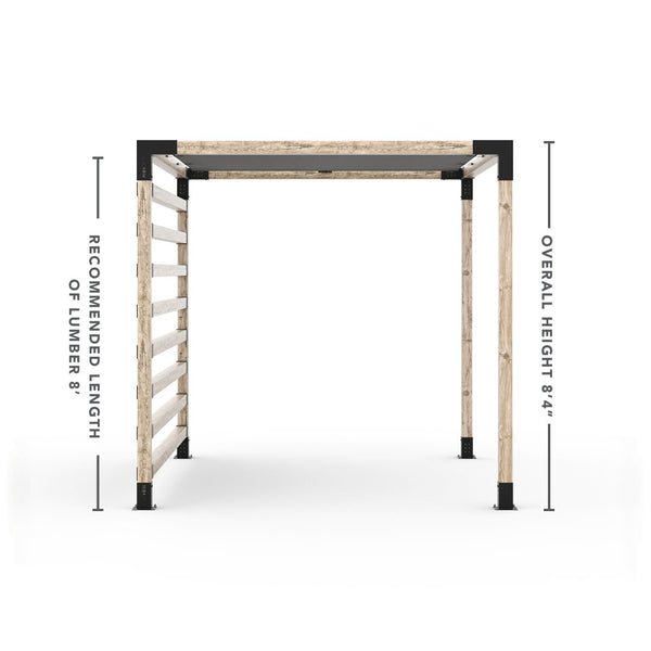 Pergola Kit with Post Wall for 4x4 Wood Posts _8x10_graphite _8x10_crimson _8x10_denim _8x10_white