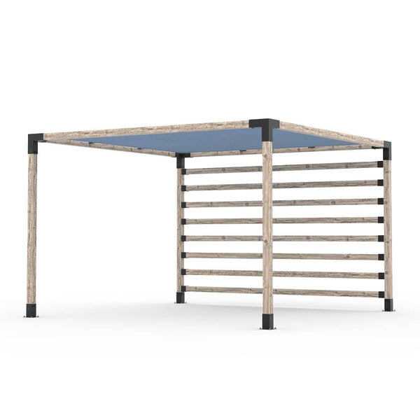 Pergola Kit with Post Wall for 4x4 Wood Posts _12x12_denim