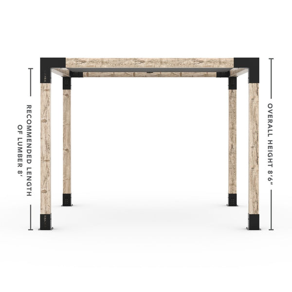 Pergola Kit With Shade Sail For 6x6 Wood Posts _10x10_graphite _10x10_crimson _10x10_denim _10x10_white