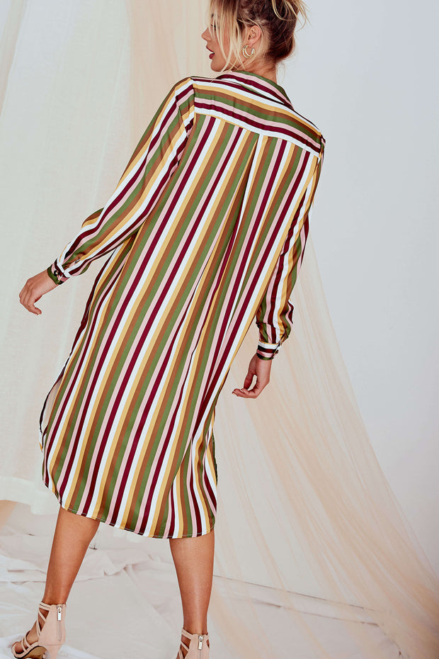 Alana Strip Shirt Dress Long Sleeve