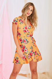 Bridget Floral Dress In Orange