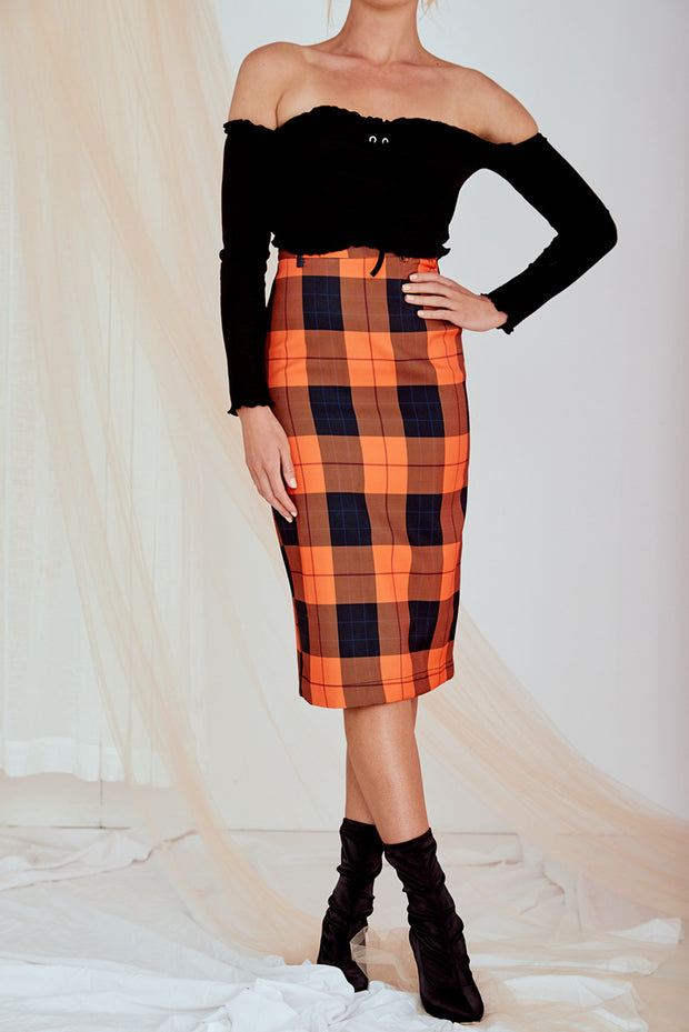 Chloe Checked Midi Skirt