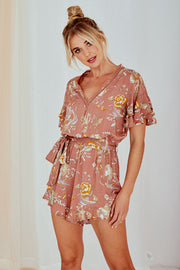 Clara Printed Playsuit Blush