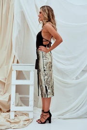 Doris Sequin Skirt Gold