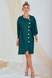 Ellie Midi Dress Long Sleeve In Green