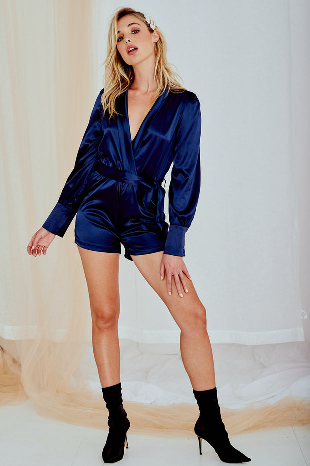 Eva Satin Playsuit in Navy