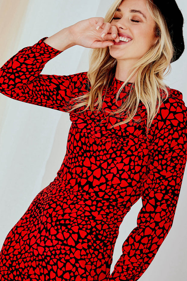 First Date Dress - Long Sleeve Red