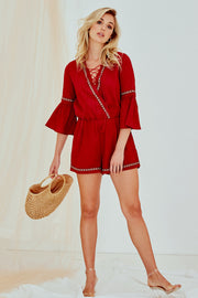 Freya Bell Sleeve Playsuit Burgundy