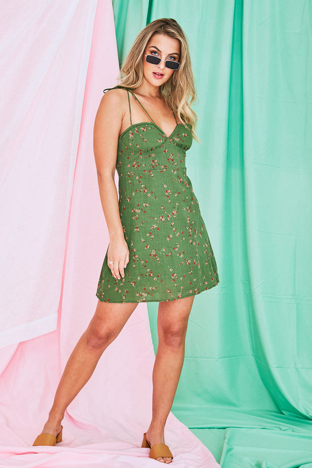 Gracie Shoulder Strap Mini Dress In Green