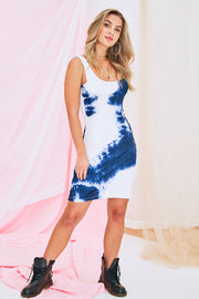 Gwen Claire Tide Dye Mini Dress In Blue