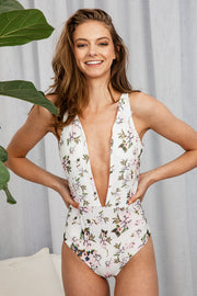 Hermosa One Piece In White Flora - The Half Clothing