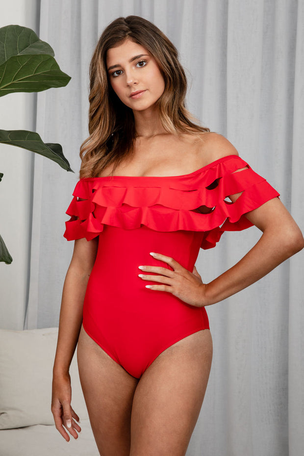 Hormuz Off The Shoulder One Piece In Red - The Half Clothing