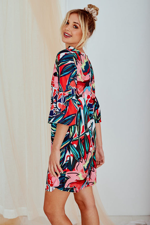 Jamaica Floral Print Mid-Sleeve Dress