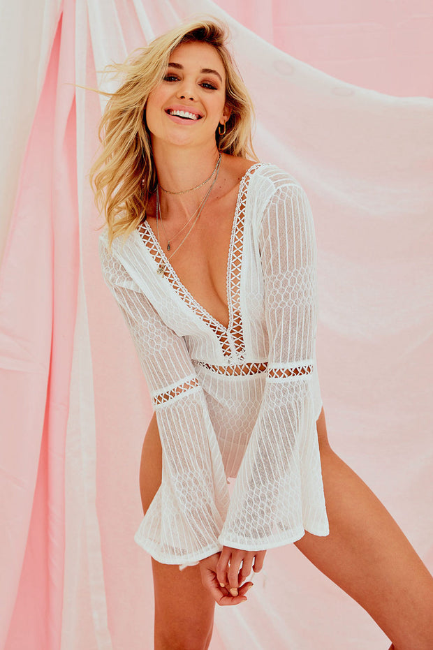 Jon Grace Lace Bodysuit In White