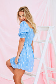 June Mini Dress In Baby Blue
