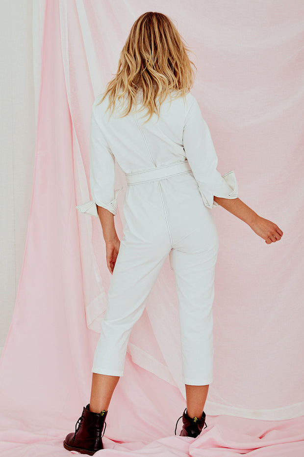 Kim Denim Jumpsuit White