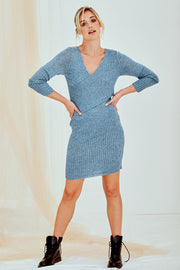 Daria Knitted Dress Long Sleeve In Blue
