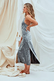 Lizzie Metallic Velvet Midi Dress