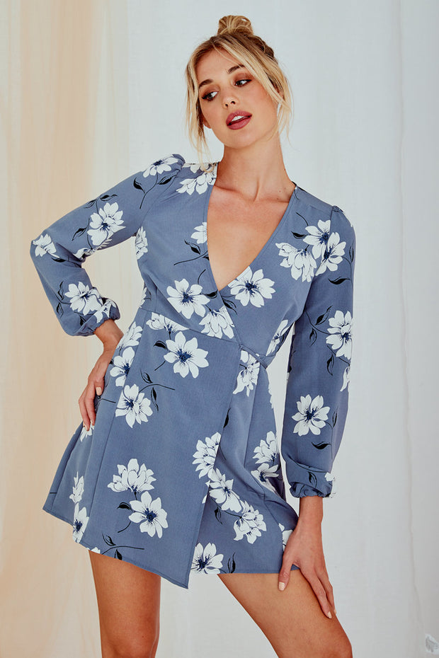 Luna Long Sleeve Printed Dress Light Blue