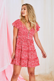 Mae Floral Dress In Red