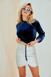 Marissa Velvet Navy Crop Top
