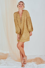 Mckenzie Printed Mini Dress Long Sleeve Yellow