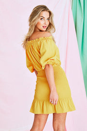 Monday Dress in Mustered Yellow