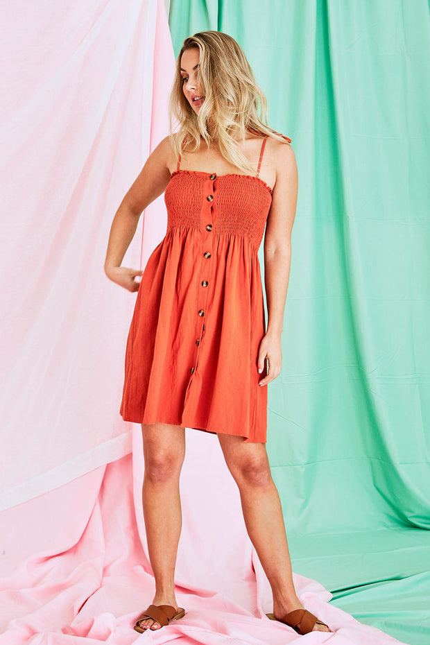 Naomi Mini Dress In Apricot