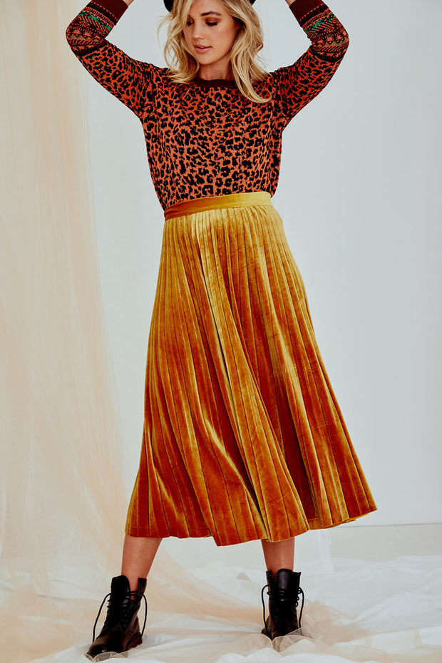 Poppy Midi Velvet Skirt in Yellow