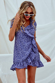 The Purple Rain Wrap Mini Dress