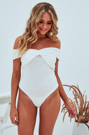 Raquel Crossbody Bodysuit In White