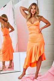 Rock This Party Satin Dress In Orange