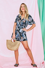 Rowan Floral Playsuit In Black