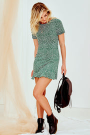 Second Date Mini Dress - Green Print
