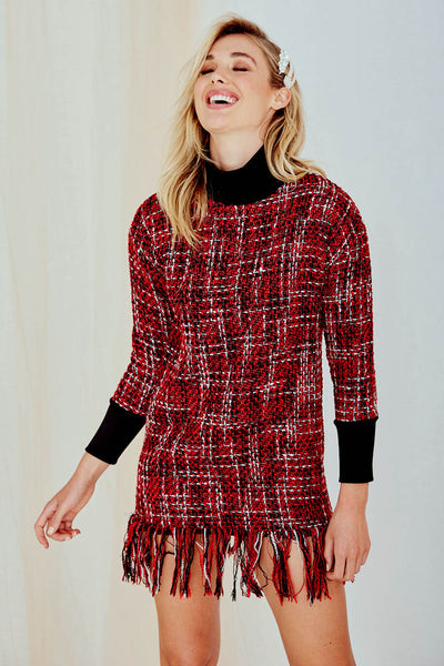 Snow Knitted Dress Long Sleeve Red