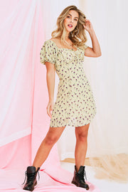 Ursula Summer Mini Dress In Pastel Yellow