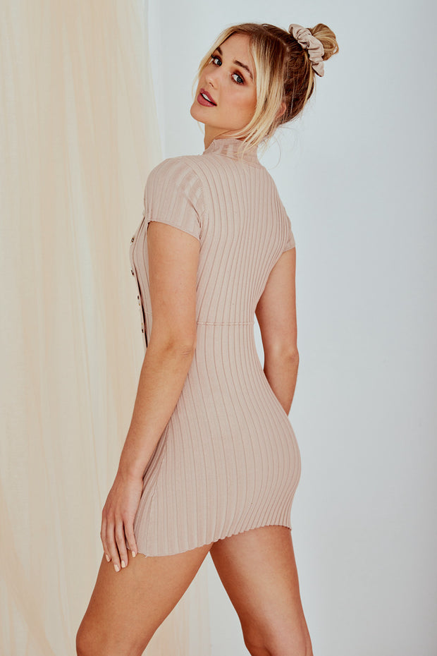 Tempt Mini Knitted Bodycon Dress Nude