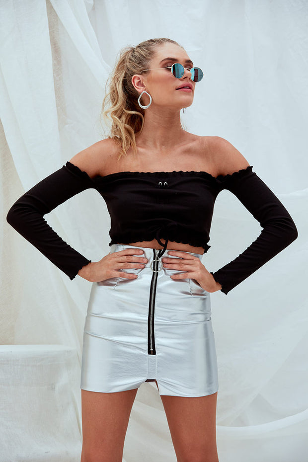 Una Metallic Mini Leather Skirt