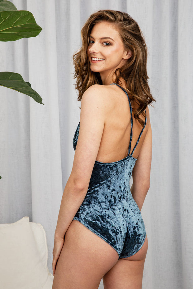 Velvet Blue Bodysuit Womens - The Half Clothing
