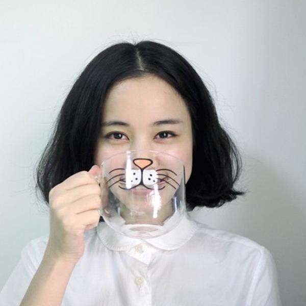 Glass Kitty Nose Coffee Cup - Kitty's Beans Coffee and Tea