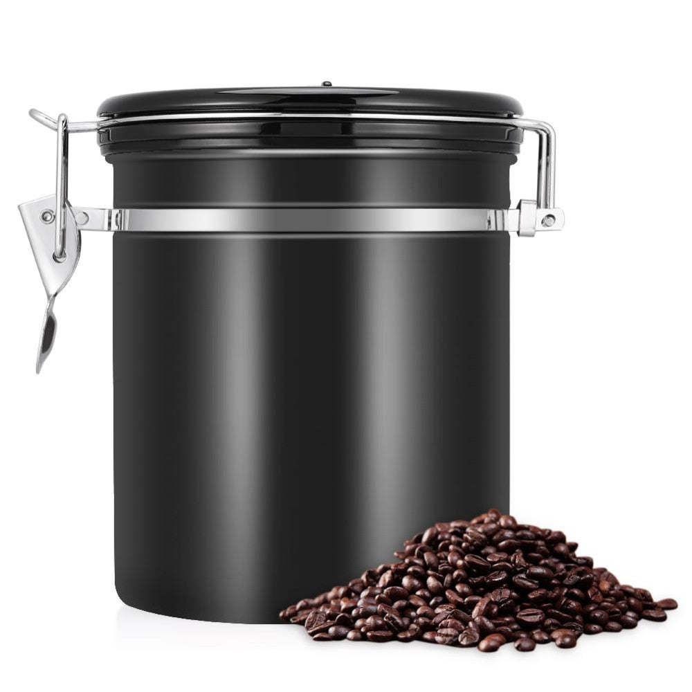 Coffee keeps freshest, longest in an airtight container. Take good care of your Kitty's Beans Coffee with this stainless steel 1.5 liter Airtight Coffee Canister. Canister includes a dial for keeping track of how long your coffee has been stored. Black canister with black lid and silver colored closure.